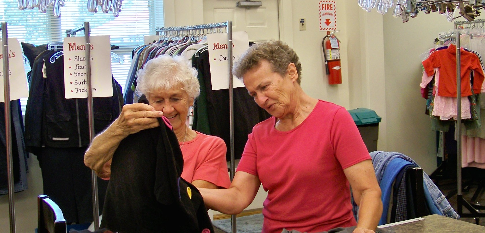 volunteers checking donated clothes