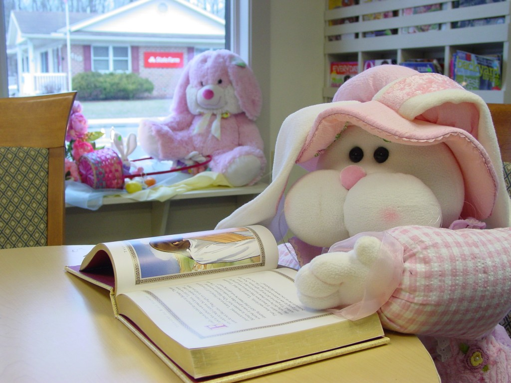 Easter bunny reading a book