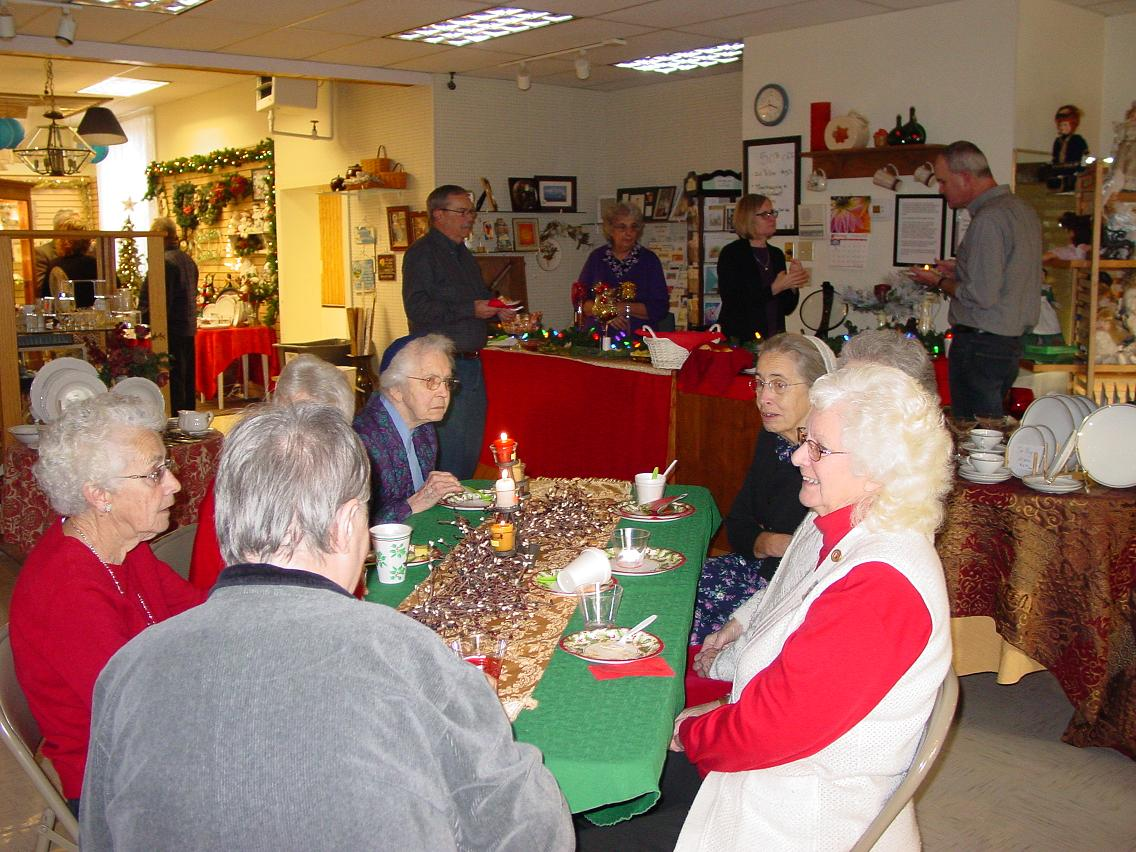 Our Volunteers enjoy Christmas festivities on a Sunday in the shop.  Lots of good food and fellowship.